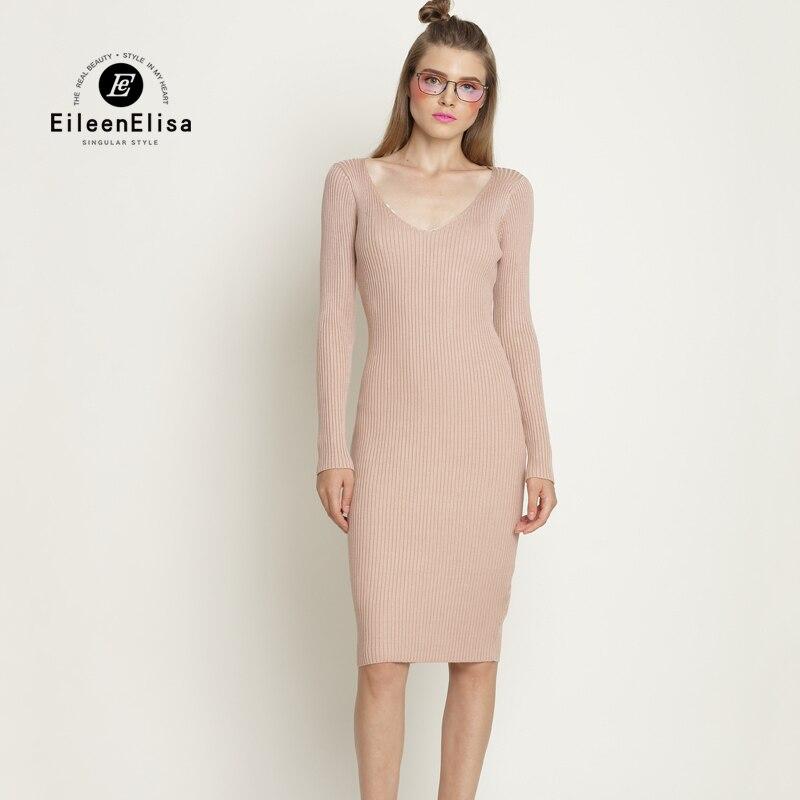 Eileen Elisa Knitted Sweater Dresses Women 2017 Winter Sexy Solid Color Women Ladies Long Sleeve Bodycon Dress Sweater V-neckÎäåæäà è àêñåññóàðû<br><br>