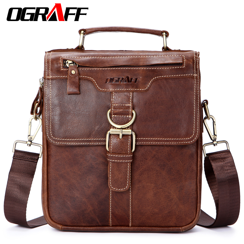 OGRAFF Bag Men Shoulder Bags Genuine Leather Handbags Male Designer Office Bag Leather Handbag Messenger Crossbody Men Bags 2017<br>