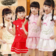 2 -6 Years Old Children's Traditional Chinese Clothing Summer Embroidered Dress Girl's Cheongsam Girls Lotus Set(China)