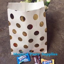 50pcs Foil Gold Dot Paper Bag for Candy Buffet Gift Bags Paper Party  Food Bags Wedding Favor Bags