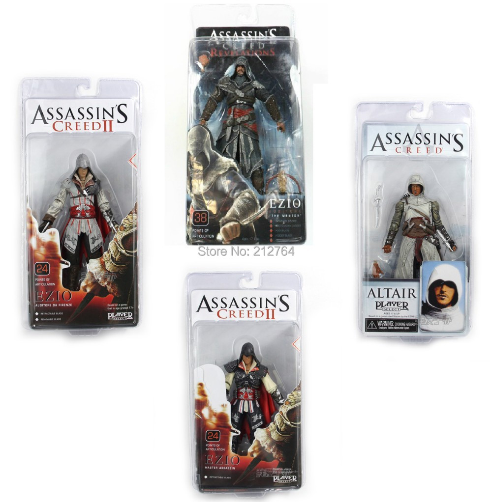 NECA Toys ASSASSINS CREED 1/2/3 generation Ezio Altair Hartel PVC Action Figures 7inch Model 4 styles for choosing birthday gift<br><br>Aliexpress