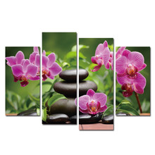 4Pcs Flower and Stone Wall Canvas Arts Painting Pictures For Living room Modern HD Posters and prints Artwork 2017 New