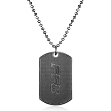 Movie Fast Furious 8 Letters pendant necklace Stainless Steel Dog Tag Necklace Men Necklace Jewelry Beads Chain Colalr
