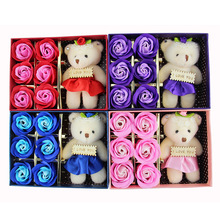 Soap box flower rose flower soap flower and bear the promotional activities of small gifts, wedding supplies wholesale