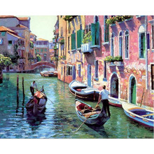 Frameless Landscape DIY Painting By Numbers Home Decoration Handpainted Modern Oil Painting On Canvas Wall Art Picture Venice