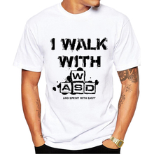 TEEHEART I walk with WASD Funny T shirt Men Cool Casual Style Short Sleeve Round Neck Video Games Top Tees pa757(China)