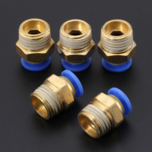 5Pcs Brass 6mm Pneumatic Connector Male Straight One-touch Pneumatic Fitting For Hoses PC6-02 Air Quick Connector