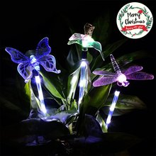 3 Pack Outdoor Solar Light Dragonfly/Butterfly/Bird Multi-color Changing Decorative Garden Lights with a White LEDs Stake Light(China)