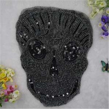 Free shipping women girl clothes black Sequins patches skull logo fashion embroidery patch for clothing patchwork fabric