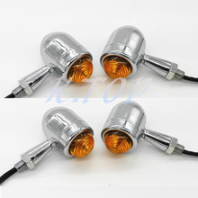 4X Motorcycle Chrome Bullet Mini Heavy Duty Bulb Turn Signal Indicators Lights For Harley Blinkers Cruiser