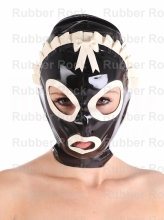 Buy 100% Nature Latex Hood Fetish Trim Mask Latex Maid Uniform Mask Sexy Hood Back Zip