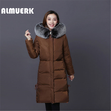 Latest Women's Winter Cotton Jacket Long Hair Collar Thicker Cotton Clothing Warm Cotton High Quality Slim Female jacket YZ169