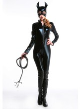 New Sexy Cat Suit Fancy Dress Shiny Super Hero Black Animal Leather Cat Womens Costume Halloween Costumes For Women