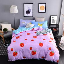 2016 red strawberry duvet cover set queen size polyester bedding set (1 comforter cover+1 bedsheet+2 pillowcases) Fast shipping