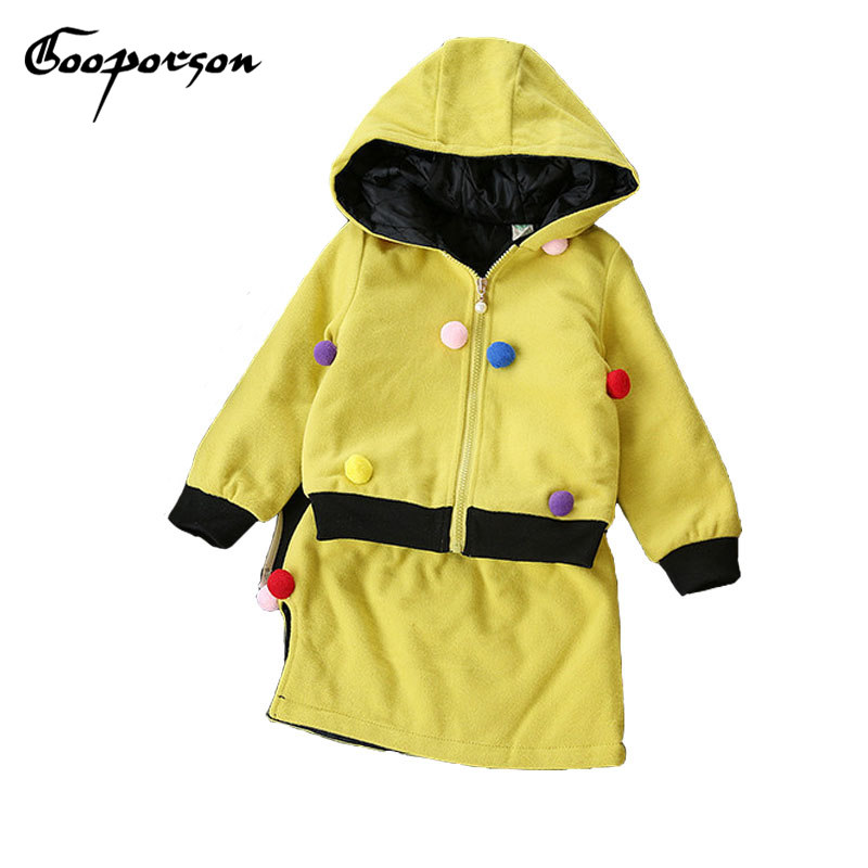 Baby Girls Clothes Set With Ball Yellow Hooded Jacket With Skirt For Kids Girl Spring Clothing Children 2 Pcs Clothing Suit <br>