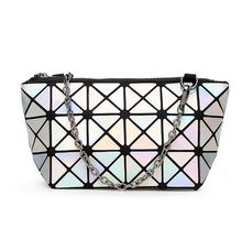 Discounts! Geometric Women-bag chain shoulder bag Hologram laser silver bag female  bag   Free Shipping Laser Silver handbag