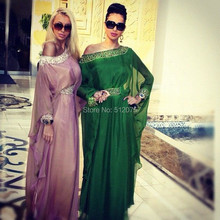 2016 Beaded Evening Dresses Long Kaftan Dubai Abaya Elegant Long Evening Dresses Long Sleeve Floor Length Evening Dress z110706