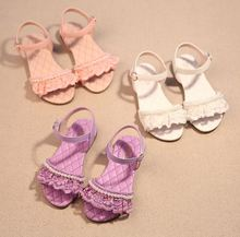 2016 Summer Children'S Open-Toed Sandals Shoes Kids Girls Pearl Lace Princess Shoes Baby Girls Party Sandals Lace