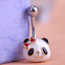 One Pc Free Shipping Cute Snow Panda Body Piercing Brand Best Girl Friend Navel Rings Feminino Accessories Belly Button Rings Uk