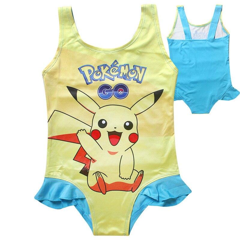 GO Pikachu Kids Children Swimwear Set Girl Bikini Summer One-Piece Swim Suits Beachwear 3-10 Years Baby Girls HOT!