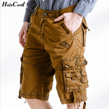 HALACOOD Fashion Sexy Quality New Summer Calf-Length Cargo Mens Cotton Shorts Multi-pocket Solid Male Puls Size Beach Shorts Fat(China)