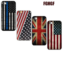 British and American Flags Hard Plastic Phone Case Cover For iphone 4 4s 5 5s se 5c 6 6s plus 7 7plus 8 8PLUS X(China)