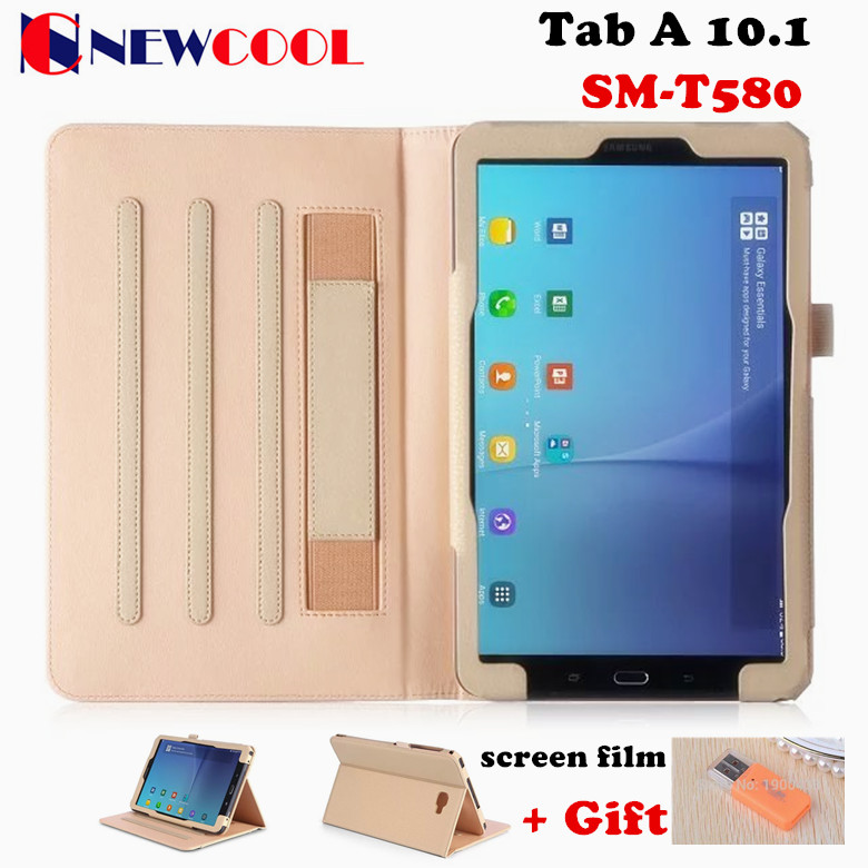 Business Matte Litchi Grain PU Leather Case Smart Cover For Samsung Galaxy Tab A 10.1 2016 T585 T580 Tablet case +film+Gift<br><br>Aliexpress
