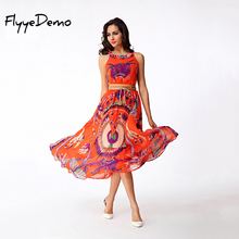 2017 Summer Women Bohemian Boho Dresses Hawaii Holiday Style Sun Flower Floral Printed Women Sleeveless O Neck Beach Dress(China)