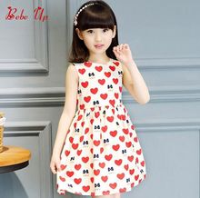 Hot Fashion Kids Girls 2017 Summer Sleeveless Baby Princess Heart Print Cute Dresses Children Clothing Bear Character Clothes(China)
