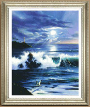 Factory Shop Cross Stitch Kit Terrifying Waves Sea Sun  Free Shipping