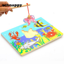 Baby Wooden Magnetic Fishing Game & Jigsaw Puzzle Board 3D Jigsaw Puzzle Children Education Toy juguetes educativos(China)