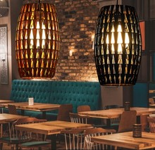American Village Rattan Weaving Droplight Modern LED Pendant Light Fixtures For Dining Room Hanging Lamp Indoor Lighting