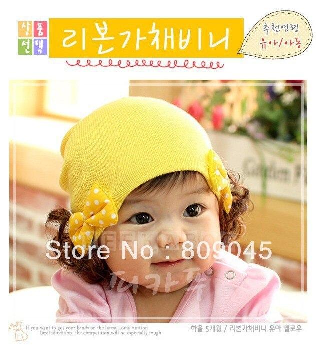 Winter warm knitted hats for boy/girl/kits hats infants caps beanine for chilldren Ear protection Double bow wig cap ZA13-1pcsÎäåæäà è àêñåññóàðû<br><br><br>Aliexpress