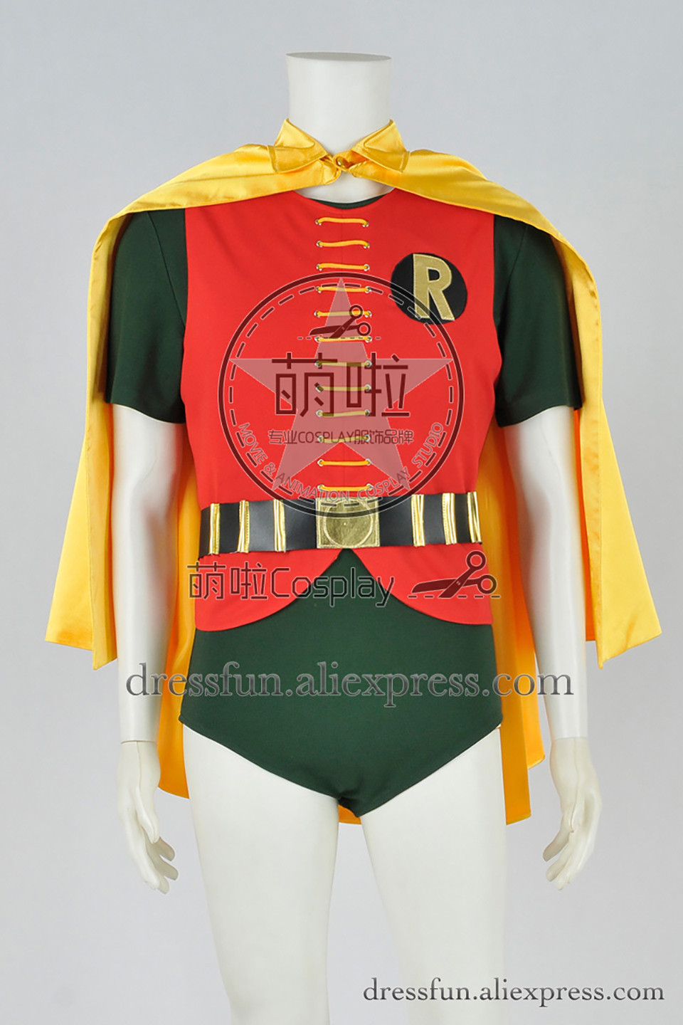 Hot Batman 1966 Cosplay Robin Yellow Cape Uniform Costume
