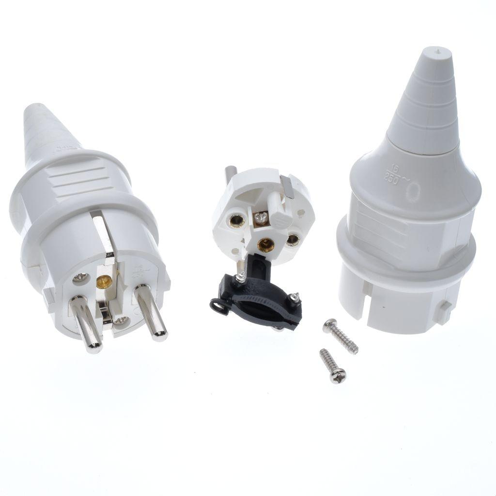European Schuko High Power Rewireable Plug 250V 16A CCE 7//7 Standard Plug Black
