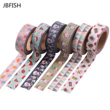 JBFISH 1.5cm x 10m Merry Christmas Deer Washi Paper Masking Tapes Decorative Tape Scrapbooking Stickers Diary Decals 2038(China)