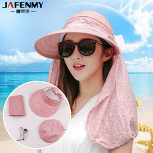 Sun Hats for women summer sun visor hat with big heads wide brim beach hat omnibearing UV protection female caps(China)