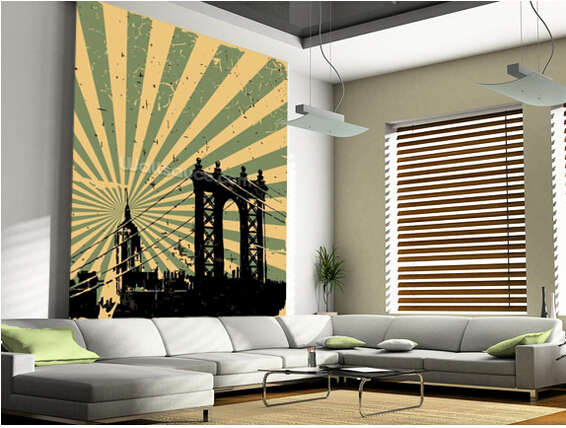 Custom retro wallpaper,New York Vintage Poster,3D wall murals wallpaper for living room bedroom kitchen background PVC wallpaper<br>