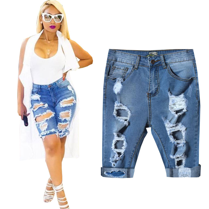 2017 Summer Womens Jeans Knee Length Denim Shorts Sexy Ripped Hole Stretch Female Vintage Jeans Shorts Pants Plus Size S-4XLОдежда и ак�е��уары<br><br><br>Aliexpress