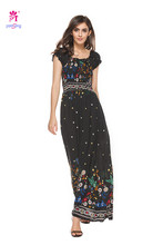 Yomsong Hot style ladies' Long Dress Printed Grace Dresses 3057(China)
