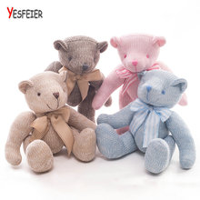 YESFEIER 38CM Movable Bear Children Birthday Gift Kawaii Knitting Wool Animal Toy Joint Teddy Bear Plush Toy(China)