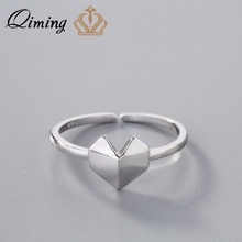 QIMING 925 Sterling Silver Jewelry Cute Heart Love Ring Women Valentine's Day Girlfriend Gift Adjustable Fashion R