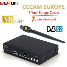 Freesat V8 Super DVB-S2 Satellite TV Receiver with 1 Year Europe Cccam 7 clines 1080P Italy Spain Arabic Cccam server + USB Wif