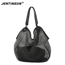 Women Shoulder Bags Hollow Out Large Leather Tote Bag 2017 Fashion Women Bag Brand Handbag With Zipper Pocket Bolsa Feminina