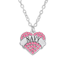 Yiwu Factory Direct Selling Silver Tone Rhinestone Pave Navy Heart Charm Necklace Fashion Navy Jewelry