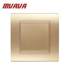MVAVA Push Bottom Home Office Hotel Gate Doorbell Wall Switch Champagne Gold 220V 1 Gang  Door Bell Switch Fire Proof PC Panel