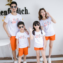 Family Matching Outfits Beach beach children's summer loaded new short-sleeved T-shirt printing father mother son suit casual