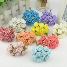 10pcs/lot 7colors 2cm Mini Head Single  PE Rose Foam Flowers Bouquet Solid  Scrapbooking Headmade Artificial Rose DIY Flower