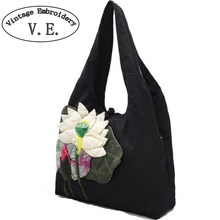 Vintage Embroidery Women Shoulder Bag Characteristics National Handmade 3D Lotus Patch Black Shoulder Bag Handbag Shopping Bag(China)