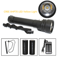 2017 New LED Diving Flashlight CREE XHP70 4200 Lumens Yellow Light Underwater 100 Meters Waterproof Scuba Torch 26650 charger
